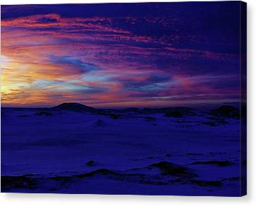 Blue Snow Sunset Canvas Print by Kathi Mirto