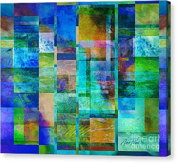 Blue Squares Abstract Art Canvas Print by Ann Powell