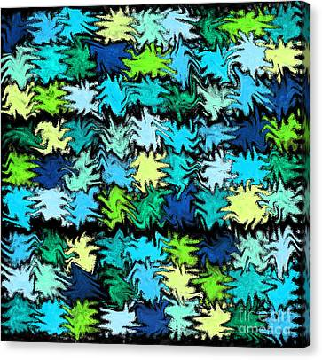 Blue Squiggle Quilt Abstract Canvas Print by Karen Adams