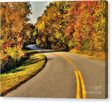 Blue Star Highway In Fall Canvas Print by Emily Kay