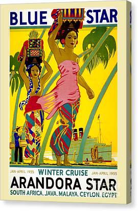 Nostalgia Canvas Print - Blue Star Vintage Travel Poster by Jon Neidert