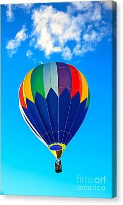Blue Striped Hot Air Balloon Canvas Print by Robert Bales