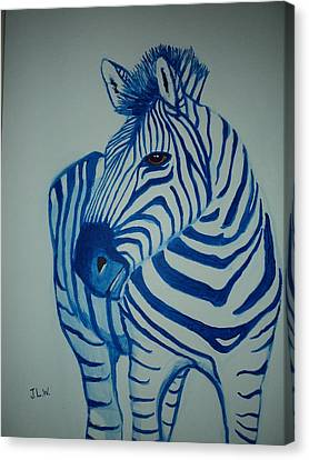 Canvas Print featuring the painting Blue Stripes by Justin Lee Williams