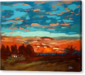 Blue Sunset Pastel Canvas Print by Joseph Hawkins