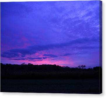 Canvas Print featuring the photograph Blue Sunset by Teresa Schomig