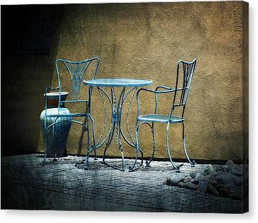Canvas Print featuring the photograph Blue Table And Chairs by Lucinda Walter
