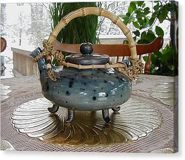 Blue Teapot Canvas Print by Beth Gramith