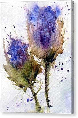 Blue Thistle Canvas Print by Anne Duke