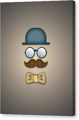 Glass Canvas Print - Blue Top Hat Moustache Glasses And Bow Tie by Ym Chin