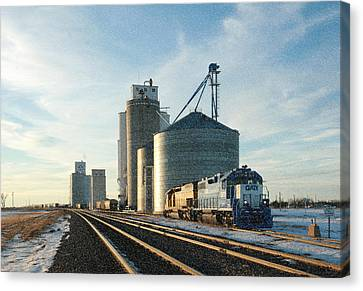 Canvas Print featuring the photograph Blue Train Blue Sky by Shirley Heier