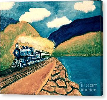 Blue Train Canvas Print by Denise Tomasura