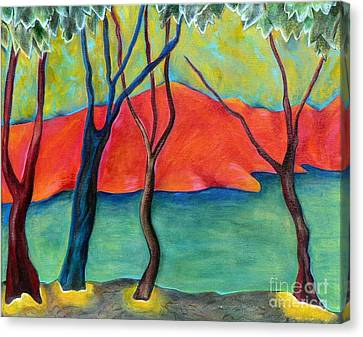 Canvas Print featuring the painting Blue Tree 2 by Elizabeth Fontaine-Barr