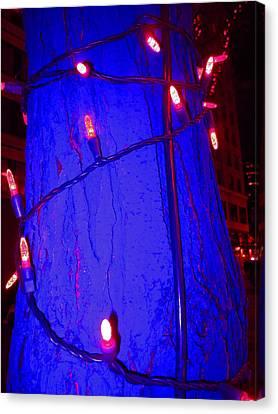 Blue Tree Red Lights Canvas Print