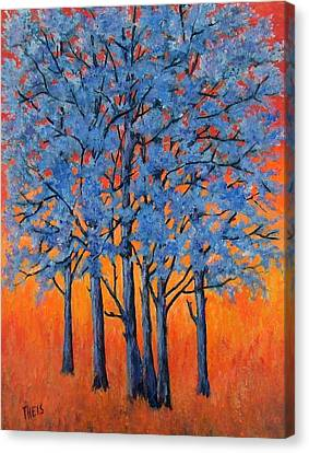 Blue Trees On A Hot Day Canvas Print by Suzanne Theis