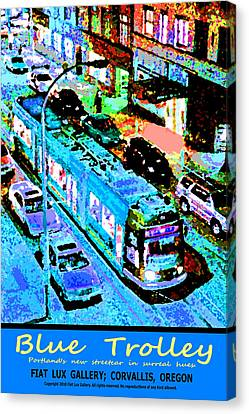 Blue Trolley Portland Canvas Print by Michael Moore