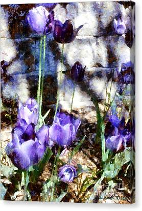 Blue Tulips In The Garden Canvas Print by Janine Riley