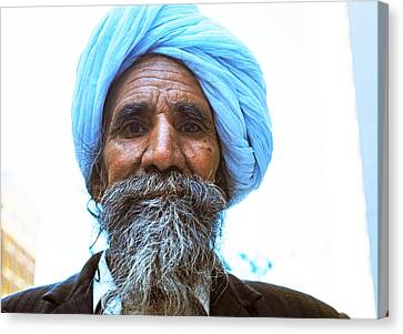 Sikh Art Canvas Print - Blue Turban Sikh  by Robert  Rodvik
