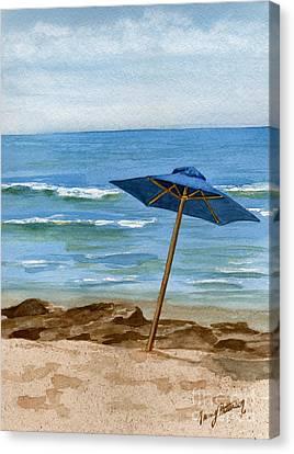 Blue Umbrella Canvas Print by Nancy Patterson