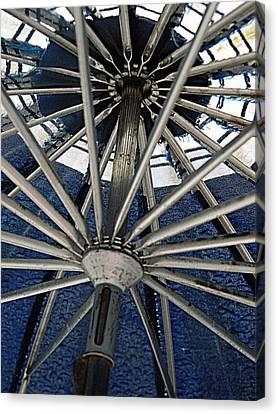 Blue Umbrella Underpinnings Canvas Print by Kathy Barney