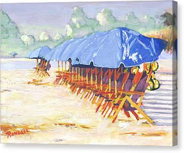 Blue Umbrellas Canvas Print by David Randall