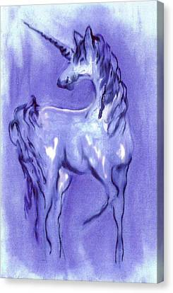 Blue Unicorn Canvas Print by Carol Rowland