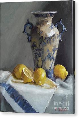 Blue Vase And Lemons Canvas Print