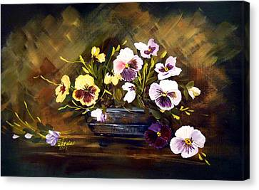 Blue Vase With Pansies Canvas Print
