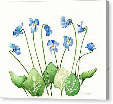 Canvas Print featuring the painting Blue Violets by Nan Wright