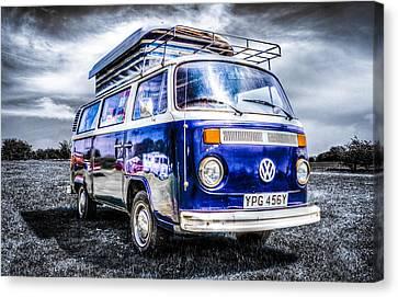 Blue Vw Campervan Canvas Print by Ian Hufton