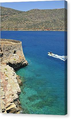Turquois Water Canvas Print - Blue Water And Boat - Spinalonga Island Crete Greece by Matthias Hauser
