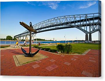Blue Water Bridge At Port Huron Canvas Print by Panoramic Images