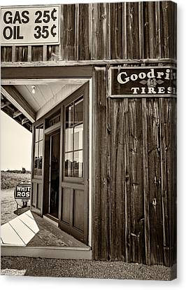 Pioneer Museum Canvas Print - Blue Water Garage - The Good Old Days by Steve Harrington