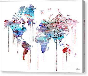 Blue Watercolor Map Canvas Print by Watercolor Girl