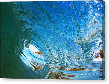 Canvas Print featuring the photograph Blue Wave Curl by Paul Topp