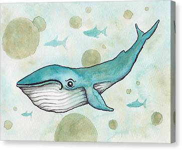 Blue Whale Canvas Print by Melissa Rohr Gindling