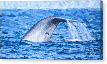 Animals Canvas Print - Blue Whale With Remoras by Liz Leyden
