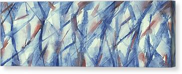 Blue White And Coral Abstract Panoramic Painting Canvas Print by Beverly Brown