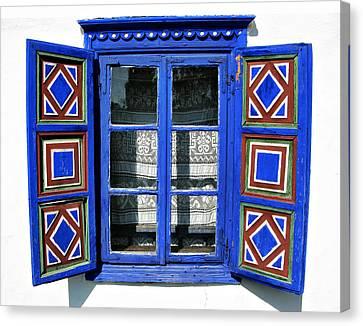 Blue Window Handmade Canvas Print by Daliana Pacuraru