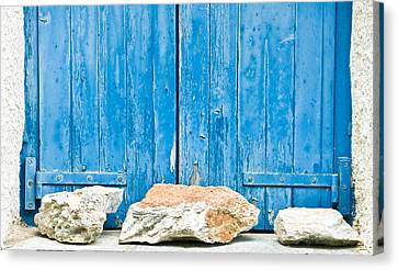 Blue Window Shutters Canvas Print by Tom Gowanlock