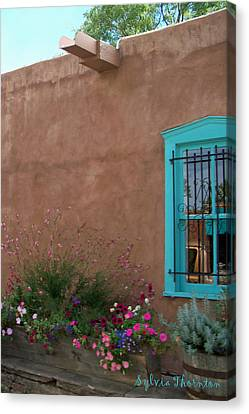 Canvas Print featuring the photograph Blue Window by Sylvia Thornton