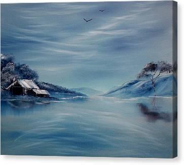 Blue Winter Reflections Canvas Print by Cynthia Adams