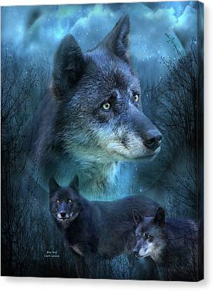 Blue Wolf Canvas Print by Carol Cavalaris
