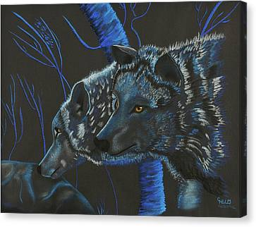 Canvas Print featuring the drawing Blue Wolves by Mayhem Mediums