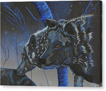 Blue Wolves With Stars Canvas Print by Mayhem Mediums