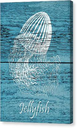 Jellyfish Canvas Print - Blue Wood Jellyfish by Cora Niele