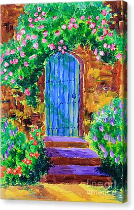 Blue Wooden Door To Secret Rose Garden Canvas Print by Beverly Claire Kaiya