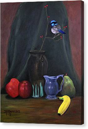 Canvas Print featuring the painting Blue Wren And Fruit by Janet Greer Sammons