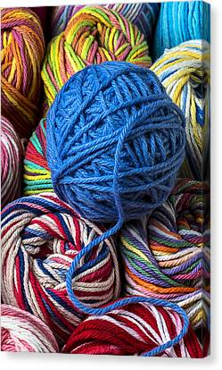 Blue Yarn Canvas Print by Garry Gay