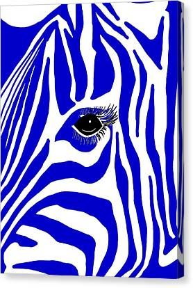 Blue Zebra Eye Canvas Print by Cindy Edwards