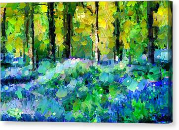 Nature Scene Canvas Print - Bluebells In The Forest - Abstract by Georgiana Romanovna